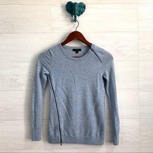 J Crew Blue Merino Wool Asymmetrical Zip Sweater